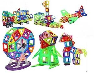 Montez 86 Pcs Mag Magical Magnetic Building Blocks 3D Magic Play Stacking Set DIY for Brain Development