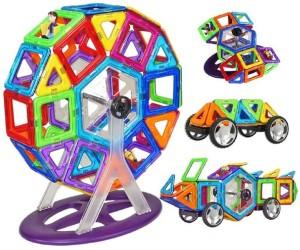 Montez 58 PCS Mag Magical Magnetic Building Blocks 3D Magic Play Stacking Set DIY for Brain Development
