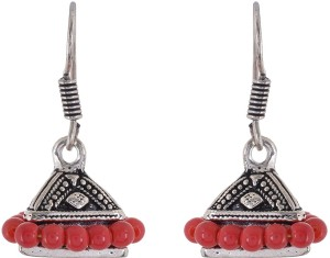 Subharpit Red Oxidized Silver Metal Indian Jhumka Jhumki Earrings for Women /& Girls