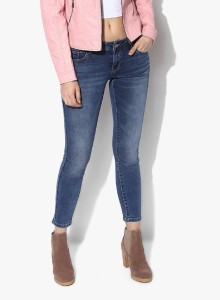 FOURGEE Slim Women Dark Blue Jeans