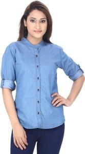 Trendyfrog Girls Solid Casual Denim Blue Shirt