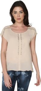 Bedazzle Casual Cap Sleeve Embellished Women Beige Top