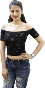 CrazeVilla Casual Short Sleeve Floral Print Women Black Top