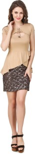 Texco Party Short Sleeve Solid Women Gold, Beige Top