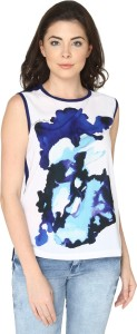 Bedazzle Casual Sleeveless Printed Women Blue Top