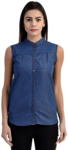 The Earth Girl's Solid Casual Denim Blue Shirt