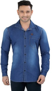 Meraki Men Solid Casual Denim Light Blue Shirt