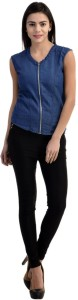 The Earth Women's Solid Casual Denim Blue Shirt