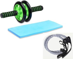 Credence Double AB Roller Wheel with 2 Resistance Pull Tubes Ab Exerciser