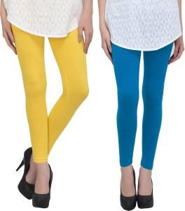 Livener Women Yellow, Light Blue Leggings