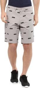 Batman Graphic Print Men Grey Basic Shorts