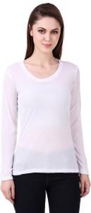 99 Affair Solid Women Round Neck White T-Shirt