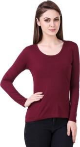 99 Affair Solid Women Round Neck Maroon T-Shirt