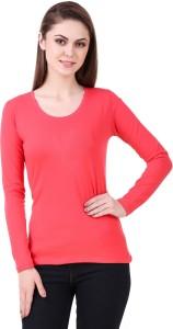 99 Affair Solid Women Round Neck Pink T-Shirt