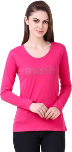 clo clu Solid Women Round Neck Pink T-Shirt