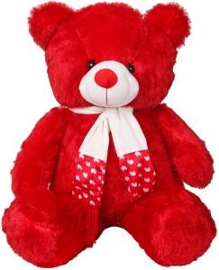 ToynJoy 3 Feet Beautiful Red Teddy Bear Stuffed Toy with Muffler  - 85 cm