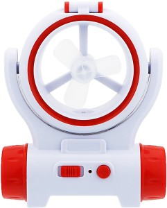 Voltegic ® Mini Small Fan Rechargeble Battery Fan Cooling Portable with Charging Cable LED Front Light