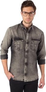 Rodid Men's Self Design Casual Denim Grey Shirt