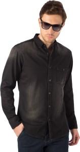 Rodid Men's Self Design Casual Denim Black Shirt