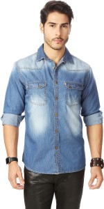 Rodid Men's Solid Casual Denim Light Blue Shirt
