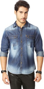 Rodid Men's Solid Casual Denim Dark Blue Shirt