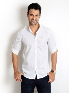 Rodid Men's Solid Casual White Shirt