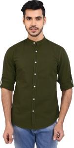 Dennis Lingo Men Solid Casual Dark Green Shirt