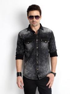 Rodid Men's Solid Casual Denim Black Shirt