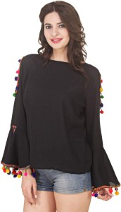 Jolliy Casual Full Sleeve Embroidered Women Black Top