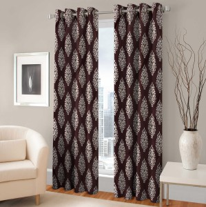 Fabaron Polyester Brown Printed Curtain Window