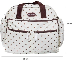 Wishkey Polka Dot Print Multi-Purpose Mother Bag (White) Nursery Bag
