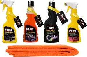 DR3M small combo kit- wax polish 250ml_Leather Dresser 250ml_Car wash Shampoo 250ml._Dashboard Dresser 250ml._1pc (Orange) Microfiber Cloth. Car Washing Liquid