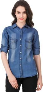 clo clu Women Solid Casual Denim Dark Blue Shirt