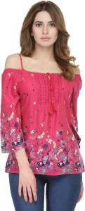 fw collection Casual 3/4th Sleeve Printed Women Pink Top