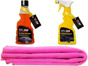 DR3M small combo kit - Dashboard Dresser 250ml./ car wash shampoo 250ml./ 1pc (pink) microfiber cloth. Car Washing Liquid