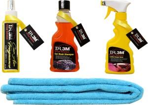 DR3M small combo kit_ car wash shampoo _ Leather Dresser ./ car Air Fragrance (Fresh)200ml.1pc Yellow Microfiber cloth Car Washing Liquid