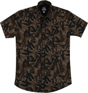 Elepants Boy's Military Camouflage Casual Multicolor Shirt