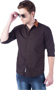 Rodid Men's Solid Casual Brown Shirt