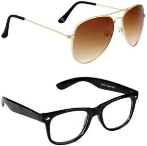 ec4ed40106 Aligatorr Combo Pack of 2 Wayfarer Aviator Sunglasses Clear Brown Best  Price in India