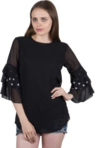 G & M Collections Casual 3/4th Sleeve Solid Women's Black Top