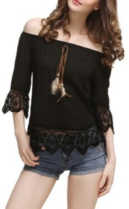 POISON IVY Casual 3/4th Sleeve Self Design Women's Black Top