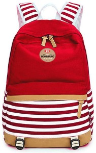 Bonmaro Stripes 25L Red Water Repellent Cotton Canvas 25 L Backpack