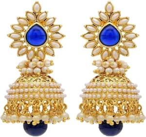 aabhu blue Pearl Copper Jhumki Earring, Earring Set