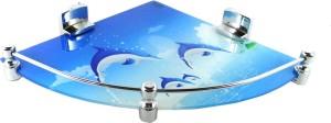 DECZO DECZO Hard Brackets 12 By 12 INCH Marvelous Dolphin Printed Glass Corner Shelf Glass Wall Shelf