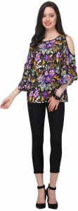 JHA FASHION Casual Butterfly Sleeve Floral Print Women's Black Top