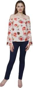 Kalava Casual Bell Sleeve Floral Print Women Multicolor Top
