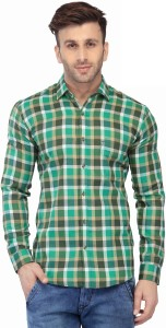 Being Fab Men's Checkered Casual Green Shirt