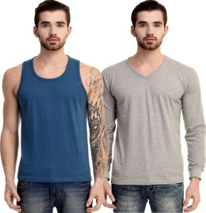Mi Moda Solid Men Round Neck, V-neck Blue, Grey T-Shirt