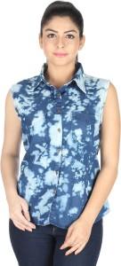 The Earth Girls Self Design Casual Denim Multicolor Shirt