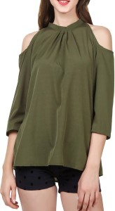 Pour Femme Casual 3/4th Sleeve Solid Women Green Top